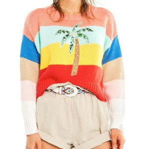 Wildfox Iris Sweater Palm Tree Pullover Colorblock